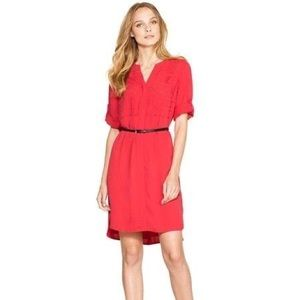 🔥WHBM Red Laser Cut Shirtdress with Belt🔥